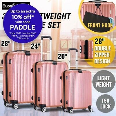 3 PCS Lightweight Luggage Suitcase Set Hard Case Trolley TSA Lock Carry Bag