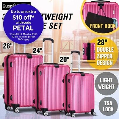 3 Pcs Expandable Spinner Luggage Suitcase Set w/TSA Lock Lightweight - Rose Red