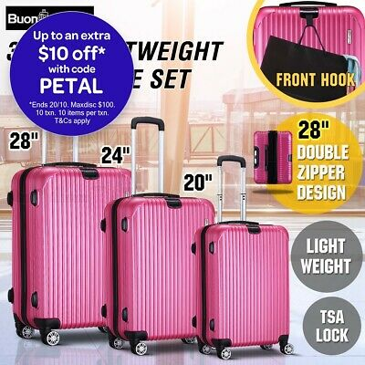3PCS Lightweight Luggage Suitcase Trolley Set TSA Carry Hard Case Storage Bag