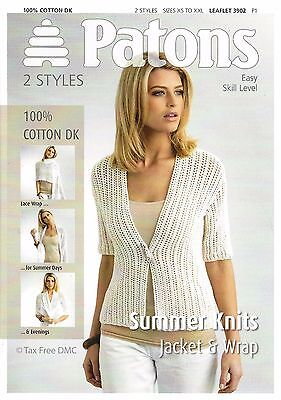 77fad403a VAT Free Knitting PATTERN ONLY Patons Ladies Summer Knits Jacket Wrap 3902  New