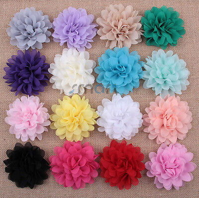20pcs Mixed Colors Organza Flowers Double Layers For Craft Decoration 10cm