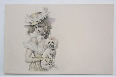 Vienne-like Tinted GLAMOROUS LADY and Her Puppy Dog Postcard