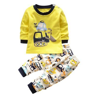 2pcs Newborn Toddler Infant Kids Baby Boys Clothes T-shirt Tops + Pants Outfits