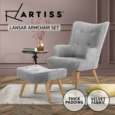 Artiss LANSAR Lounge Chair Scandinavia Armchair Tub Accent Fabric Sofa Ottoman