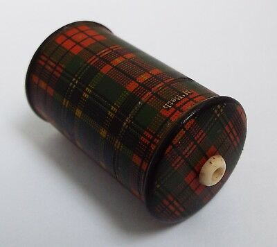 LOVELY RARE ANTIQUE 19TH CENTURY VICTORIAN c.1880 TARTAN WARE VESTA & GO TO BED