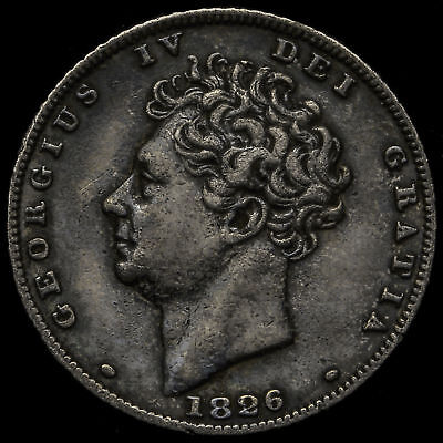 1826 George IV Milled Silver Sixpence, GVF