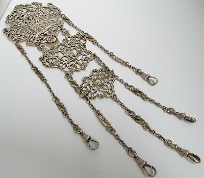 Superb Genuine English Antique 1894 Cast Solid Sterling Silver Chatelaine Chain