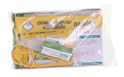 Click Medical Sharps Disposal Handling Kit Disinfectant Spray Container Forceps