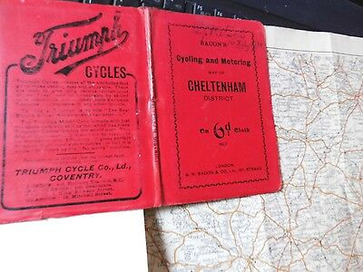 CHELTENHAM-GLOUCESTERSHIRE ANTIQUE MAP c1900:RAILWAYS CYCLES,MOTORS-GEORGE BACON
