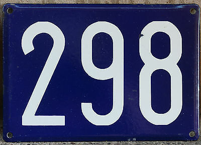 Giant old French house number 298 door gate plate plaque enamel steel metal sign