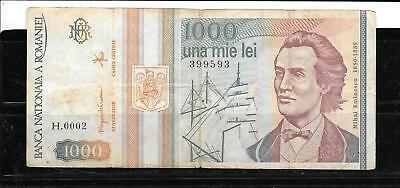 Romania #102 1993 Vg Used Old 1000 Lei Banknote Paper Money Currency Bill Note