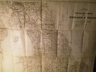 Scotland,england,wales-Antique Cycle Map:1890+George Bacon:rare +Shipping,rail