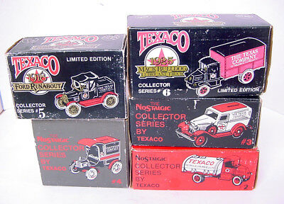 5 TEXACO DIE CAST LIMITED EDITION TRUCK BANKS #s 2,3,4,5 & 6! MINT! BOXED!