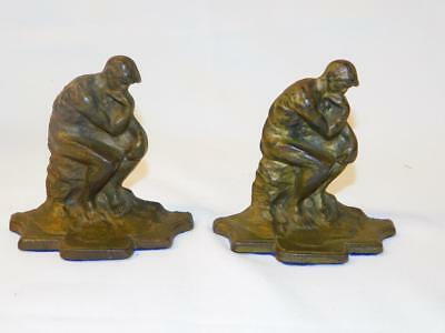 Antique Vintage PAIR CAST IRON Rodin THE THINKER BOOKENDS 588 582