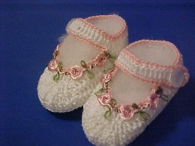 Crochet Baby Infant Girl Booties Shoes White & Pink