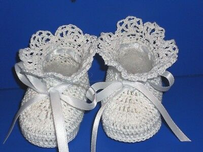 Crochet Baby Infant Girl Christening Booties Shoes White