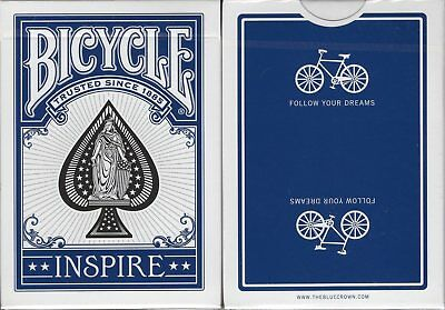 Inspire Blue Marked Bicycle Playing Cards Poker Size Deck USPCC Custom Limited
