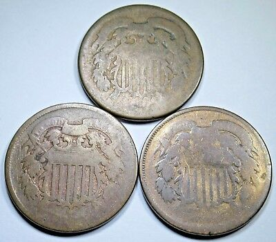 3 No Date U.S. Two Cent Piece Authentic 2 Penny US Antique Currency Coins USA