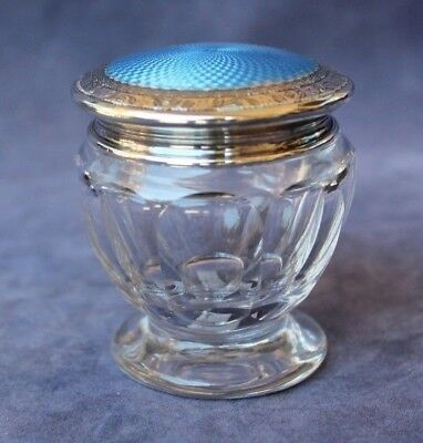 Antique Sterling Silver with Guilloche Blue Enamel Footed Vanity or Dresser Jar