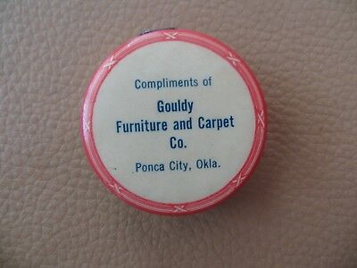 ANTIQUE CELLULOID sewing tape measure PONCA CITY OKLA GOULDY FURNITURE Ok WORKS