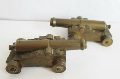 Fabulous Pair Of Antique Bronze / Brass Desk Cannons Small & Heavy Quality Made