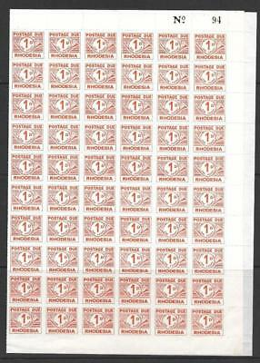 RHODESIA, QE11 1965 1d POSTAGE DUE, ROUL 9, CAT £6 EACH, MNH SHEET OF 120,