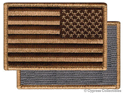 AMERICAN FLAG BIKER PATCH BROWN LEFT embroidered USA w/ VELCRO® Brand Fastener