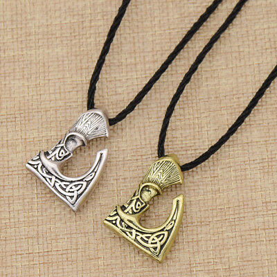 Gothic Retro Viking Axe Pendant Chain Necklace Women Men Vintage Jewelry Gift