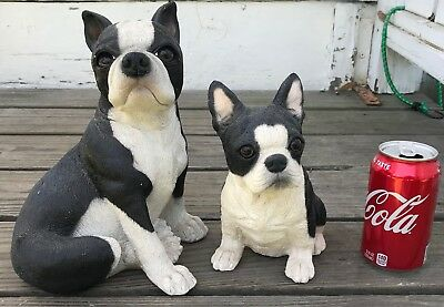 2 Sitting Boston Terrier Dog BANKS ~ Maggie Wilcox & Bank Makers of America