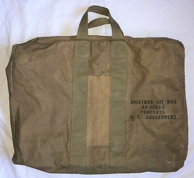 "Original WWII US Army Air Corps Khaki AN 6505-1 ""Aviators Kit Bag"" ...Excellent!"