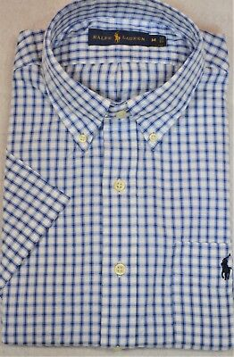 Ralph Lauren Seersucker Shirt Blue/White Plaid Button-Front Chest Pocket M NWT