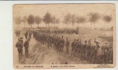 Anzacs In France A Queue To The Field Canteen Ww1 Daily Mail Postcard