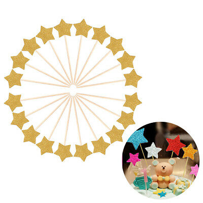 30pcs Glitter Paper Star Cake Topper Decor Party Ceremony Twinkle Cupcake Topper