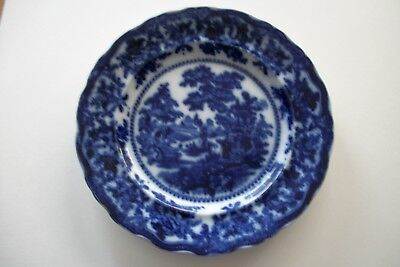 Antique Flow Blue Dinner Plate - Fairy Villas Manufactured By W. Adams And Co.