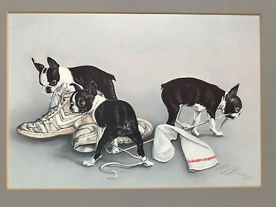 Sold-Out Darlene Wilson LE print Playing Boston Terrier Dogs #114/120