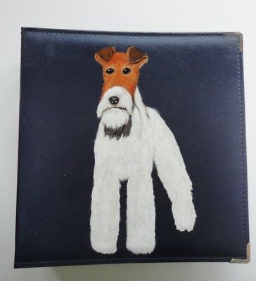 Wire Fox Terrier Dog Navy Photo Album hand painted by me for  8 x 11 photos