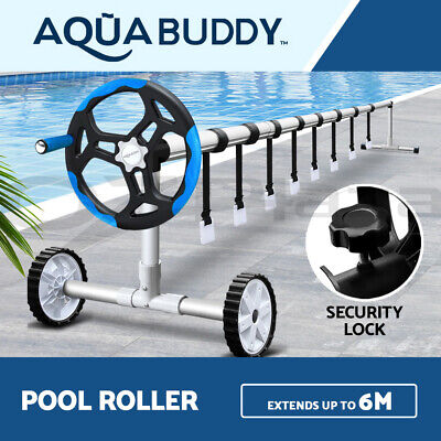Aquabuddy Adjustable Swimming Pool Cover Roller Reel Solar Thermal Blanket Blue