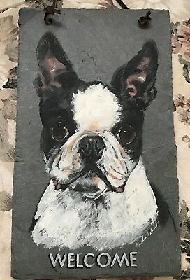 Beautiful Boston Terrier Dog Art Painting on slate Welcome Sign ~ signed
