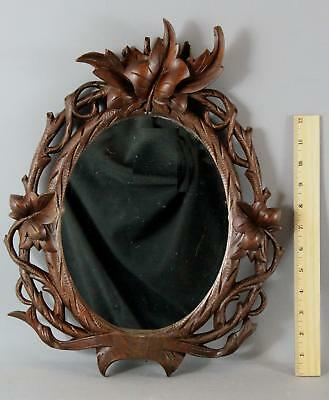 Antique 19thC Victorian German Black Forest Carved Walnut Frame & Mirror
