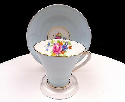 """A.b.j. Grafton China England Blue With Floral Bouquet 2 7/8"""" Cup And Saucer Set"""