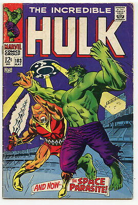 JERRY WEIST ESTATE: THE INCREDIBLE HULK #103 (Marvel 1968) VG+ condition