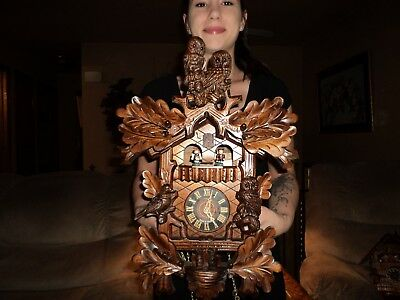Beautiful German Carved Owls 8 Day Musical Cuckoo Clock With Dancers