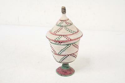 """Hand Coiled Grass Basket W/Lid & Footed Round 10""""x5"""""""