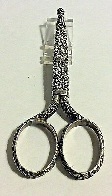 Antique Scrolls   Sheath Sterling Silver Embroidery Sewing Scissors 385