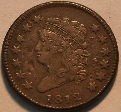 1812 Classic Head Large Cent, Higher Grade Details Coin, Better Date Penny 1C