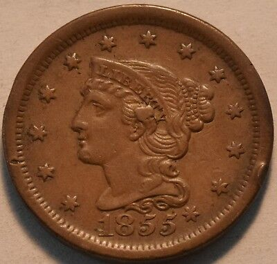 1855 Knob on Ear Braided Hair Large Cent, Higher Grade Penny, Original Look 1C