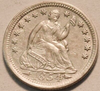 1854 Seated Liberty Half Dime, Higher Grade, Scarce Type Silver H10C Coin