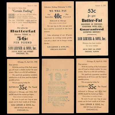 1932-1945 US Postal Cards (6) w/ Ag Advertising Buy Prices for CREAM BUTTERFAT