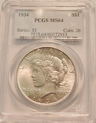 1934 $1 PCGS MS 64 Peace Silver Dollar, Better Semi-KEY Date Uncirculated Coin
