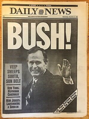 1988 New York DAILY NEWS Newspaper GEORGE H.W. BUSH WINS ELECTION vs. Dukakis